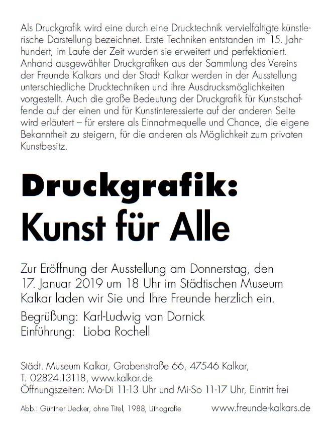 Einladung Ausstellung  Druckgrafik
