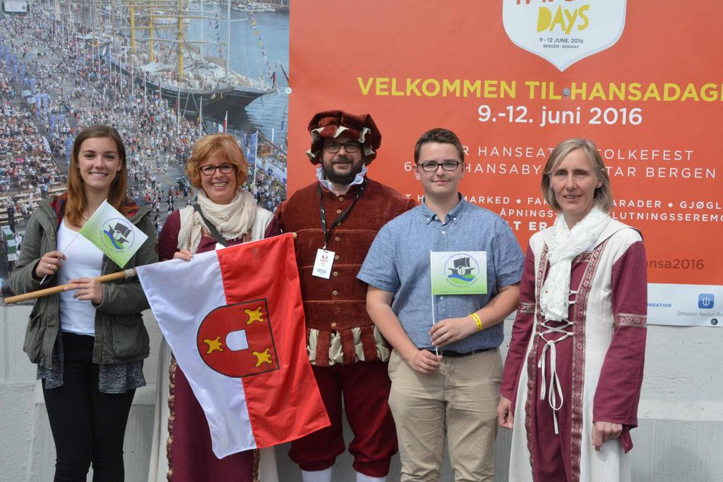 Delegation der Stadt Kalkar bei den Internationalen Hansetagen 2016 in Bergen, Norwegen.